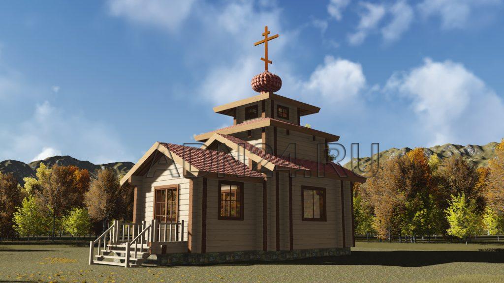 Проект 629 церковь 38м2 брус 200х200