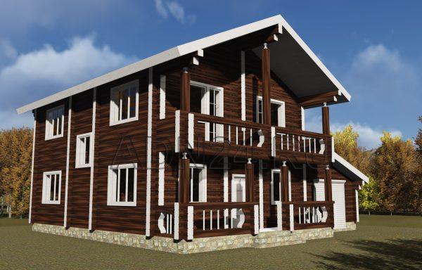 Двухэтажный дом 200м2 из бруса 220х220 — проект 340