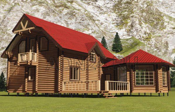 Двухэтажный дом на 196м2 из бревна 220мм — проект 412